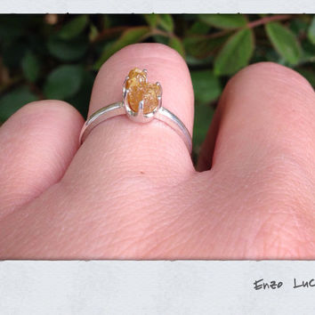 Natural yellow - raw rough uncut -diamond - solitaire-promise- engagement ring- Tiffany style-sterling silver