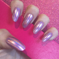 Luxury Hand Painted False Nails. Oval Holographic Pink. Set Of 24 Nails.