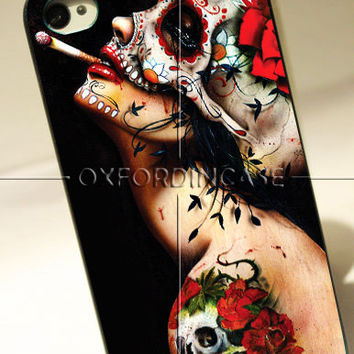 Floral Sugar Skull Tattooed - for iPhone 4/4S case iPhone 5 case Samsung Galaxy S2/S3/S4 case hard case