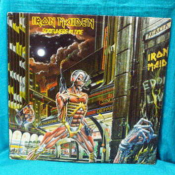 Vintage 80s IRON MAIDEN Somewhere In Time Capitol Records Vinyl LP