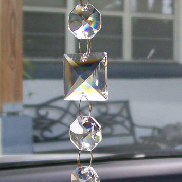 Blue Agate Suncatcher, Rearview Mirror, Light Catcher, Rainbow Suncatcher, Window Ornament, Crystal Suncatcher, Sun Catcher, Car Accessory