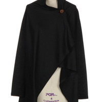 One Button Knit Cape Jacket