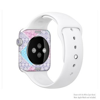 The Squared Pink & Blue Textile Patterns Full-Body Skin Kit for the Apple Watch