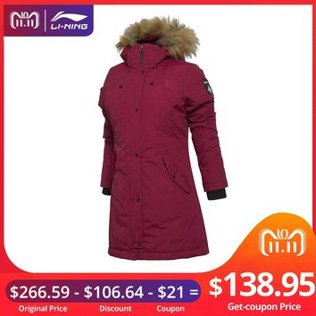 (11.11 Clearance)Li-Ning Women Outdoor Down Coats 90% White Goose Warm LiNing Sports Fur Parkas AYML002 WWY401