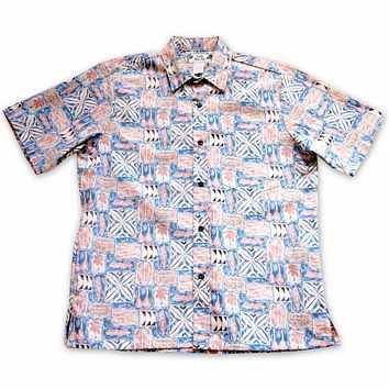 olukai orange reverse print hawaiian cotton shirt