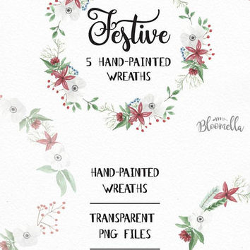 5 Watercolour Festive Wreaths Clipart - Christmas Leaves Hand-painted Garlands Clip Art INSTANT DOWNLOAD PNGs Digital Leaf Jolly Holidays