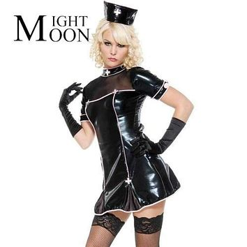 MOONIGHT Nurse Costume Black PU Leather Nurse Uniform Exotic Apparel Cosplay Dress Sexy Halloween Costumes For Women Macchar Cosplay Catalogue
