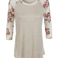 LE3NO Womens Lightweight Round Neck Floral Raglan T Shirt
