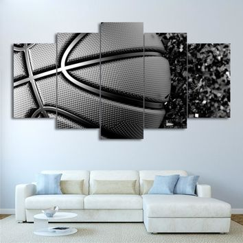 5 Panel Canvas Art Grey Basketball Disintegration Panel Print UNframed Framed