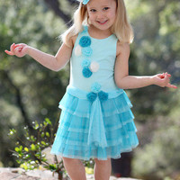 Bunnies Picnic - Isobella and Chloe Swan Lake Flowered Tutu Dress in Turquoise - Girls Boutique Clothes