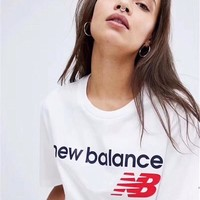 NB New Balance 2019 new round neck sports casual short-sleeved T-shirt white