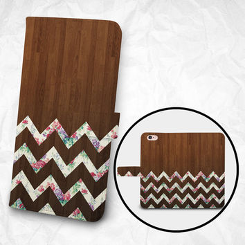 iPhone 6 Case with Strap, iPhone 6S Case Wallet, iPhone 6 Case Wallet, iPhone 6 PLUS Wallet, iPhone 6S Plus Wallet, Floral Chevron Wooden