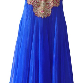 Royal blue color floor length anarkali salwar kameez