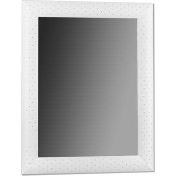 CP Wall Mirror with Wood Frame Covered in Eco Leather with Swarovski Crystals
