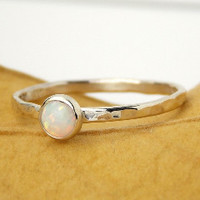 Hammered Band Opal Cab Ring:  Sterling Silver