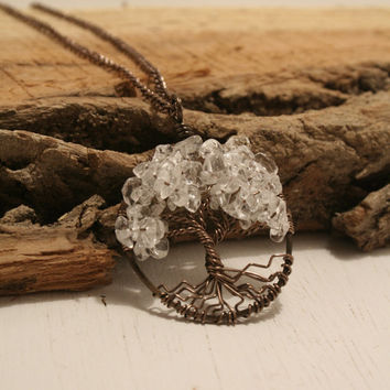 Tree Of Life Necklace Clear Quartz Pendant Brown Chain and Wire Wrapped Tree Semi Precious Gemstone Jewelry April Birthstone Jewelry