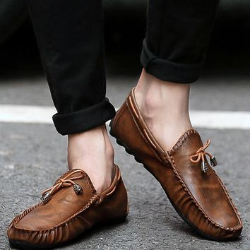 Designer Casual Slip On Driving Shoes Summer Moccasins Soft Leather Flat Loafers Chaussure Homme