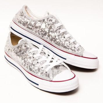 tiny sequin silver canvas converse all star low top sneakers shoes