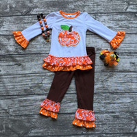 In Stock- damask pumpkin ruffle pant set