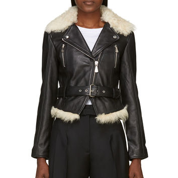 Mcq Alexander Mcqueen Black Shearling Leather Biker Jacket