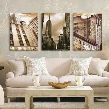 3-Piece City Skyscraper Canvas Painting