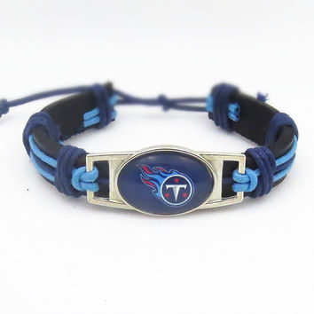 Tennessee Titans Football Leather Cuff Bracelet