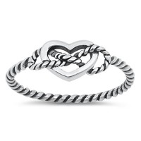 .925 Sterling Silver Heart Rope Knotted Infinity Ladies Ring Size 3-10 Midi