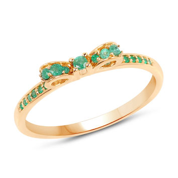 Delicate Emerald Bow Ring in 14k Yellow Gold