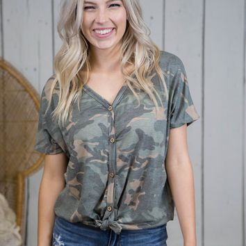 Sama Knotted Button Up Top, Camo