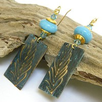Blue Lampwork Earrings Brass Dangle Crystal Gold Short Handmade