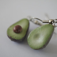 Avocado Earrings, Miniature Food Jewelry, Polymer Clay Food Earrings