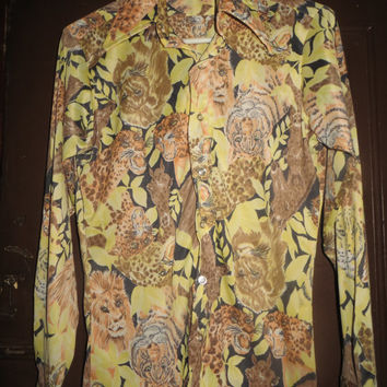 "Mod Hippie Party Shirt  Vintage 1960""s  Jungle safari animals   themed  disco  shirt"
