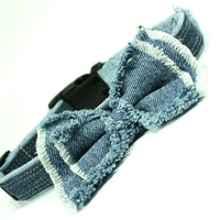 Denim Dog Collar Bow Denim Blue Jeans Frayed 131 by CoopersCollars, Upcycled, Repurposed, Handmade
