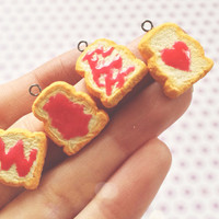 Set of 4 Too Too Kawaii Toast Inspired Polymer Clay Charms