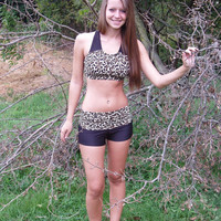 Leopard print Crop Top and Yoga Shorts  (Women's Sizes)