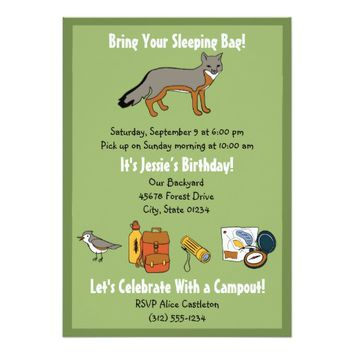 Campout Sleepover Birthday Party Invitation