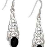 Sterling Silver and Oval Onyx Celtic Knot Earrings