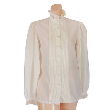 Victorian Blouse Victorian Top Ruffle Shirt Ruffle Blouse White Lace Blouse Puffy Sleeve Shirt Ivory Blouse High Neck Blouse Ladies Blouse