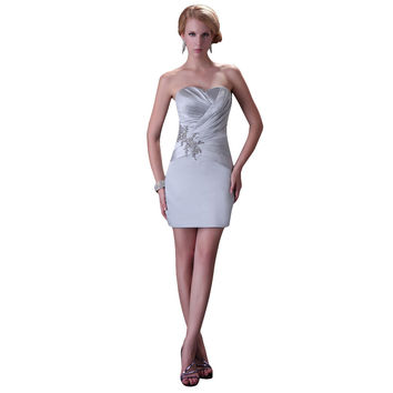 Elegant Design 2015 New Arrival Sleeve Bolero Sheath Sexy Party Dress Prom Gowns Short Satin Evening Dress with Jacket CL3826 - BRIDESMAID DRESSES BRIDAL GOWNS PROM