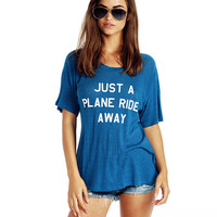 Just A Plane Ride Away Print Short Sleeve Graphic Tee