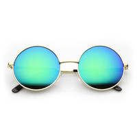 Retro Hippie Large Round Flash Mirror Lens Metal Sunglasses 9636