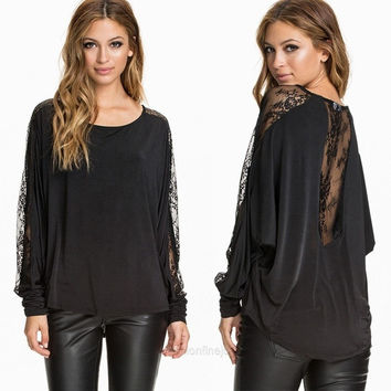 Stylish Lady Women's Long Sleeve Sexy Lace Patchwork Batwing Sleeve Casual Blouse Tops Shirt F_F SV014680 = 1902371844
