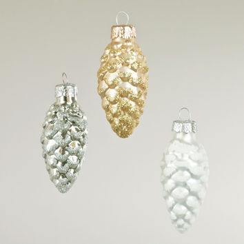 Boxed Glass Pinecone Ornaments,  Set of 3 - World Market