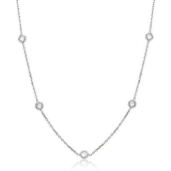 """Sterling Silver 18"""" Bezel-Set Faceted Circle CZ Station by the Yard Necklace"""