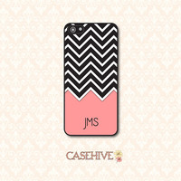 iphone 4 case, iphone 5 case, Samsung Galaxy S3 case - Personalized case with black and white chevrons, coral color block