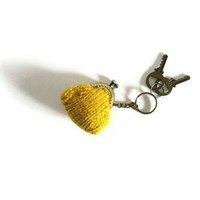 Keychain with Tiny Purse Knitted in Yellow Merino Blend   knitBranda