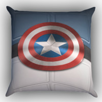 Captain America Shield  X1688 Zippered Pillows  Covers 16x16, 18x18, 20x20 Inches