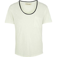 River Island MensWhite leather-look trim low scoop t-shirt