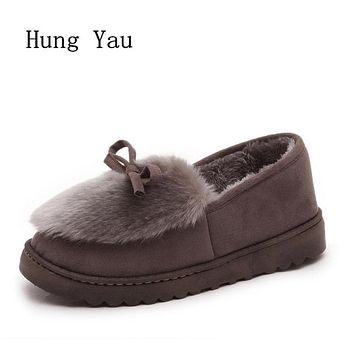 Flats Shoes Woman 2017 Winter Warm Snow Boots Fur Casual Women Shoes Butterfly-knot Fashion 2017 Women Low Shallow Mouth
