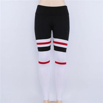 ac ICIK83Q Yoga Sports Hot Sale Stripes Leggings [190507909145]